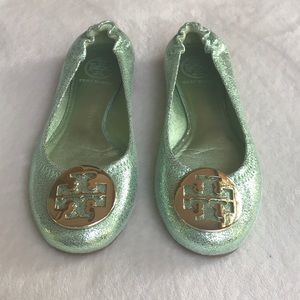 Tory Burch Minnie Travel Ballet Flats Green Size 6